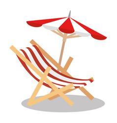 beach chair with umbrella vector image