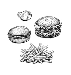 Black and white hand drawn fried potatoes chips vector image