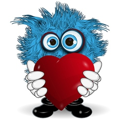 Blue monster keeps heart vector