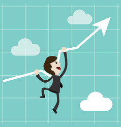 Businessman or manager climbs up on chart getting vector