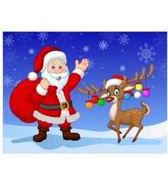 Cartoon Santa clause with deer vector image vector image