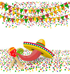 Cinco de mayo red pepper maracas sombreros vector