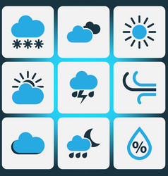 climate colored icons set collection of sunny vector image vector image