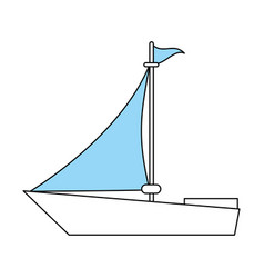 Color silhouette image wooden boat with sail vector