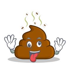 Crazy poop emoticon character cartoon vector