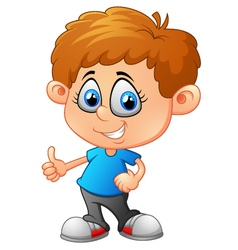 Cute boy waving hand vector image