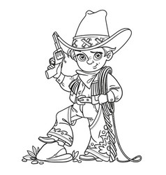 cute boy with a gun holds the lasso outlined vector image vector image