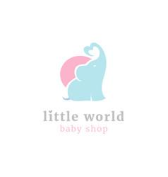 cute little elephant logo vector image vector image