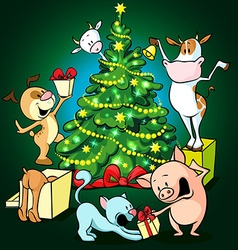 Farm animals celebrate christmas under the tree - vector