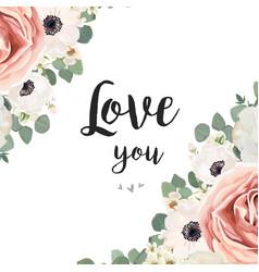 floral design card white rose flower pink vector image