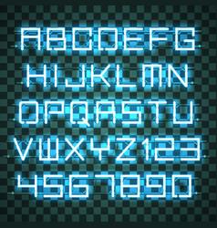 glowing azure neon alphabet vector image vector image