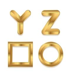 Golden alphabet Set of metallic 3d letters vector image vector image