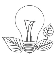 grayscale contour with light bulb and leaves vector image vector image