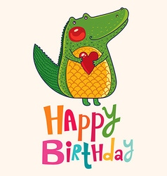 Happy birthday crocodile design vector image vector image