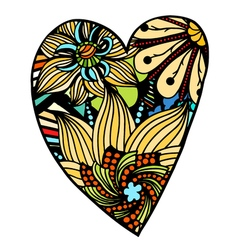 Heart of flowers zentangle pattern vector image
