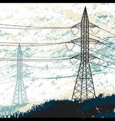 High voltage pylon vector image