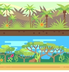 Horizontal seamless tropical forest jungle vector image vector image