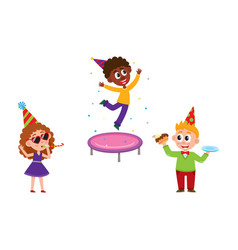 kids jump blow whistle eat birthday cake vector image