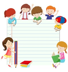 Line paper design with boys and girls vector image
