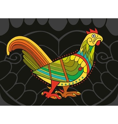 Motley Cock On Black vector image vector image