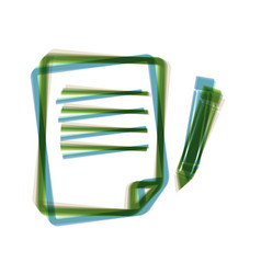 Paper and pencil sign colorful icon vector