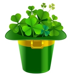 Patrick hat full of clover Patrick green hat with vector image vector image