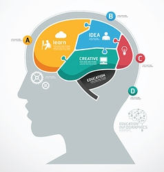 Puzzle Jigsaw Abstract Human Brain infographic vector image vector image