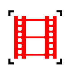 Reel of film sign red icon inside black vector