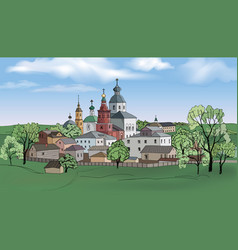 Russian kostroma city kremlin landscape travel vector