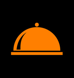 Server sign orange icon on black vector