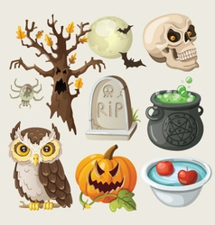 Set of colorful items for halloween vector image vector image