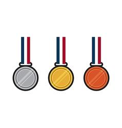 Set of gold silver bronze medal flat design vector image vector image