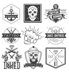 Set of tattoo school emblems logos vector