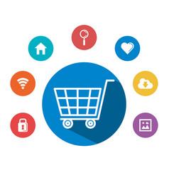 Shopping cart social media commerce online concept vector