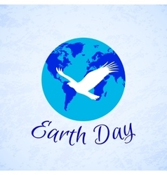Silhouette of eagle over planet earth earth day vector