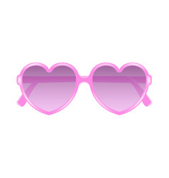 sun glasses in shape of heart in pink design vector image