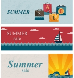 Three summer sale banners vector