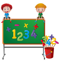 Two boys and numbers on board vector