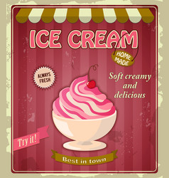 vintage banner with cherry ice cream vector image vector image