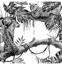 Watercolor leopard pattern vector