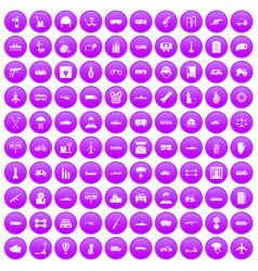 100 burden icons set purple vector