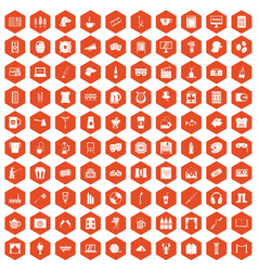 100 leisure icons hexagon orange vector