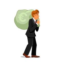 Businessman carrying money bag with euro sign vector