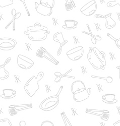 Kitchen utensils outline seamless pattern vector
