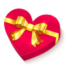 Valentines day 3D heart gift box vector image