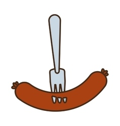 Delicious sausage isolated icon vector