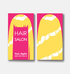 Template design card with long blonde hair on pink vector