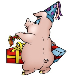 Piglet and gifts vector