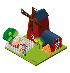 3d design for windmill and barn on the farm vector image