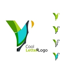 Set of abstract y letter company logos business vector